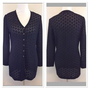 St. John Black stretch knit button up cardigan